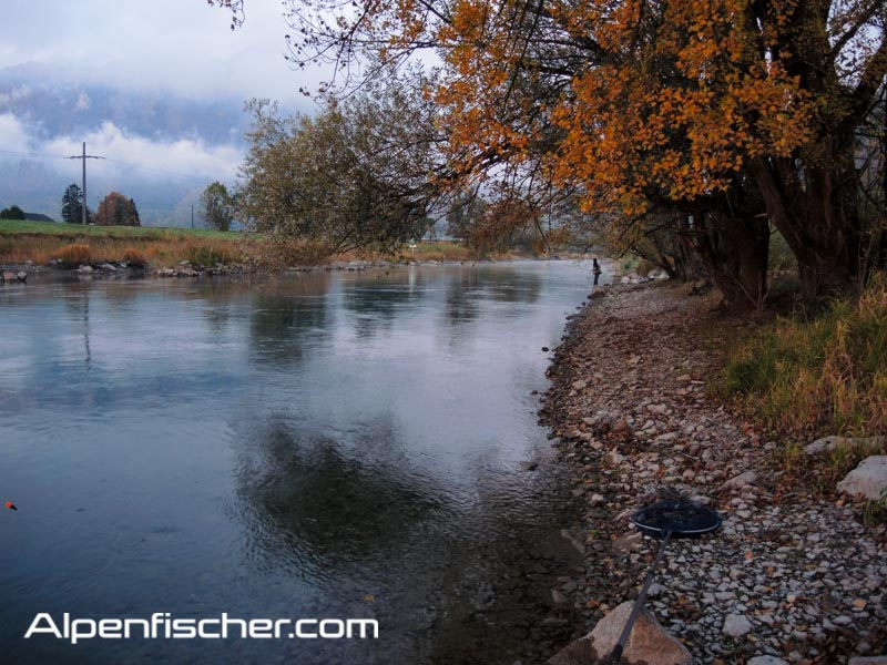 Naturköder auf Aeschen fischen, Alpenfischer, fischen, angeln, Flussfischen auf Äschen