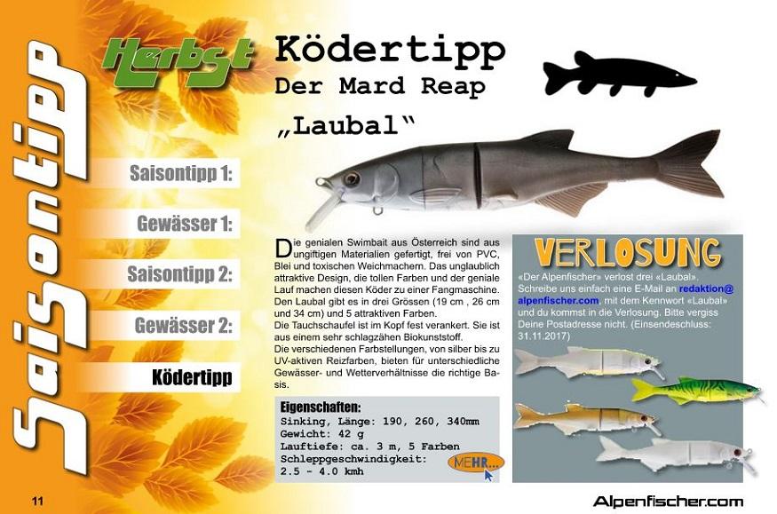 Mard Reap Laubal, Swimbait, Hechtköder, Gummifisch, Spinnfischen, Grosshechte, Alpenfischer